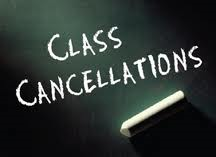 2 classes cancelled – Wednesday 1st March 2017